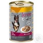 Корм для собак Nutrilove c кусочками курицы и макаронами в желе 415г
