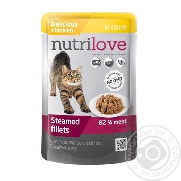 Корм Nutrilove вологий з куркою в соусі для котів 85г - купити, ціни на МегаМаркет - фото 1