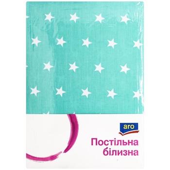 Комплект постельного белья Aro двухспальный мятный звезда