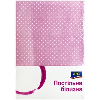 Комплект постельного белья Aro двухспальный розовый крапинка