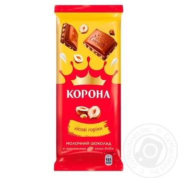 Шоколад Корона молочный с лесными орехами 90г - купить, цены на Novus - фото 1