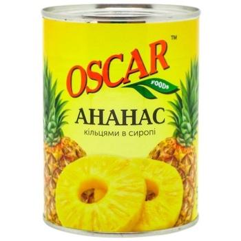Ананасы Оскар кольцами в сиропе 565г - купить, цены на Ашан - фото 1