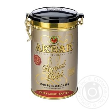 Черный чай Акбар Роял Голд крупнолистовой 150г - купить, цены на Ашан - фото 1