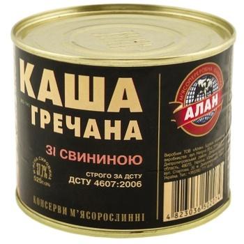 Каша Алан гречана зі свининою консервована 525г - купити, ціни на CітіМаркет - фото 1