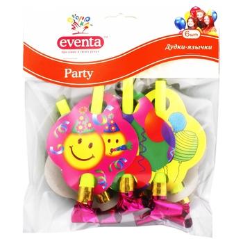 Дудки-язычки Eventa пластиковые с декором 6шт - купить, цены на Фуршет - фото 1