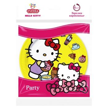 Тарелки бумажные Eventa hello kitty 6шт*18см - купить, цены на Фуршет - фото 1