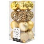Набор шаров ёлочных золотые 16шт 6см