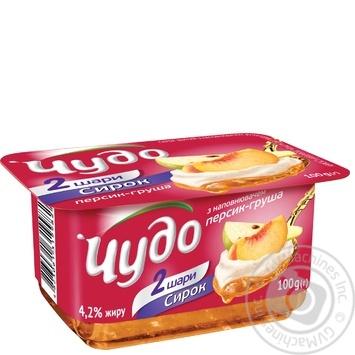 Сирок збитий Чудо персик-груша 4.2% 100г - купити, ціни на Novus - фото 1