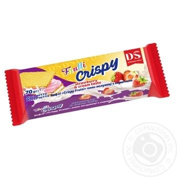 Вафли Домашне свято Crispy Frutti вкус клубники со сливками 70г
