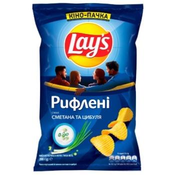 Чипсы картофельные Lay's со вкусом сметаны и лука рифленые 200г