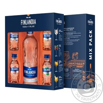 Горілка Фінляндія 40% 0,5л і 4 смакові мініатюри - купити, ціни на Novus - фото 1