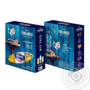 Набор водка Finlandia Грейпфрут 37,5% 0,5л + тоник Schweppes 2*0,33л в подарочной упаковке