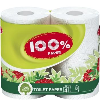 Бумага туалетная Рута 100% Папер белая 4шт - купить, цены на Varus - фото 1
