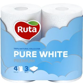 Ruta Pure Toilet Paper Three-layer White 4pcs - buy, prices for MegaMarket - image 1