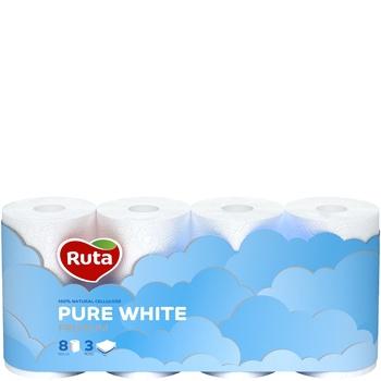 Бумага туалетная Рута Пур Вайт трехслойная белая 8шт - купить, цены на СитиМаркет - фото 1