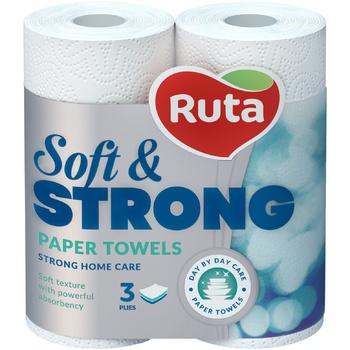 Полотенца бумажные Рута Софт&Стронг белые 3сл 2шт - купить, цены на Novus - фото 1