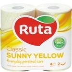 Туалетная бумага Ruta Classic двуслойная желтая 4шт
