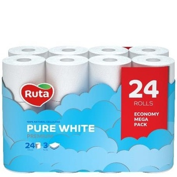 Бумага туалетная Ruta Pure White Premium трехслойная 24шт - купить, цены на Novus - фото 1