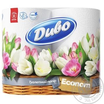 Туалетная бумага Диво Эконом белая двухслойная 8шт Украина