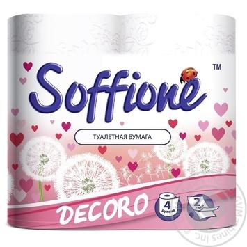 Toilet paper Soffione Decoro 2 ply 4 pcs Ukraine - buy, prices for Furshet - photo 1