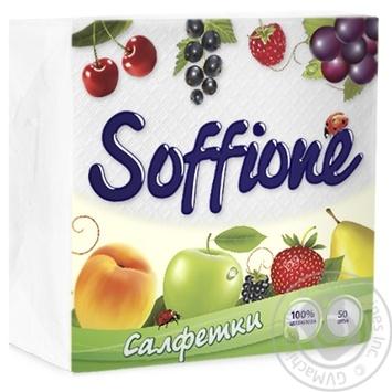 Салфетки бумажные Soffione белые 24х24см 50шт - купить, цены на СитиМаркет - фото 1