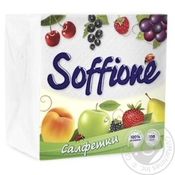 Серветки Soffione 33X33см 100шт - купити, ціни на CітіМаркет - фото 1