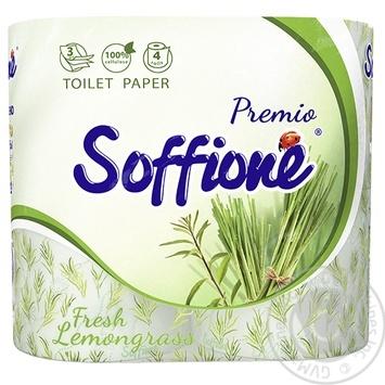 Туалетная бумага Soffione Fresh Lemongrass трехслойная 4шт - купить, цены на Фуршет - фото 1
