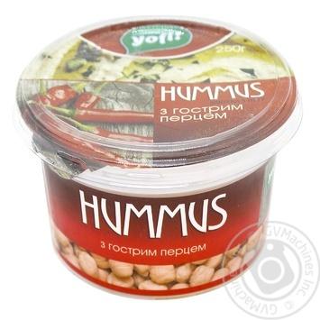 Закуска YoFi! Hummus Середземноморська з гострим перцем 250г - купити, ціни на МегаМаркет - фото 1