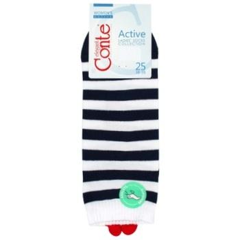 Носки женские Conte Elegant Active р.25 белый-синий - купить, цены на СитиМаркет - фото 1