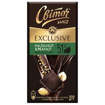 Шоколад СВІТОЧ® Exclusive с фундуком и арахисом черный 51% 100г - купить, цены на Ашан - фото 1