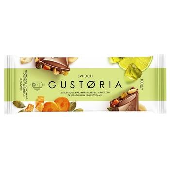 Шоколад молочний СВІТОЧ® Gustoria з морквою, насінням гарбуза, арахісом та желейними шматочками 100г - купити, ціни на ЕКО Маркет - фото 1