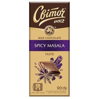 Шоколад молочный СВІТОЧ® с начинкой острая масала  90г - купить, цены на Ашан - фото 1