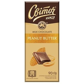 Шоколад молочний СВІТОЧ® з арахісовою пастою 90г - купити, ціни на Ашан - фото 1