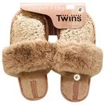 Капці домашні Twins жіночі паєтки/хутро р.40 пудровий