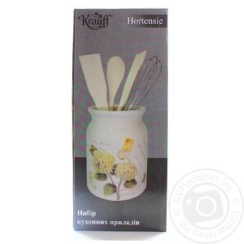 Набір кухонних приладів Hortensie підставка керамічна 13,75см та кухонні прилади 4шт Krauff