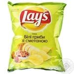Чипси Lay's зі смаком білих грибів та сметани 71г