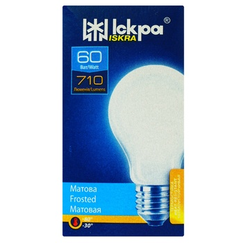 Лампа Искра матовая А50 230В 60Вт Е27 - купить, цены на Ашан - фото 1