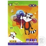 Набір кольорового паперу ZiBi 9кольорів 18аркушів - купити, ціни на CітіМаркет - фото 1