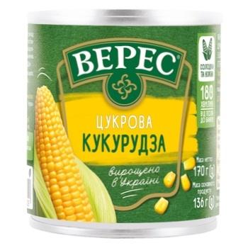 Кукуруза Верес сахарная 170г - купить, цены на Ашан - фото 1