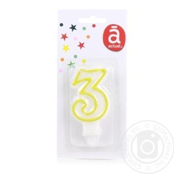 Свічка Actuel для торту 3 - купити, ціни на Ашан - фото 2