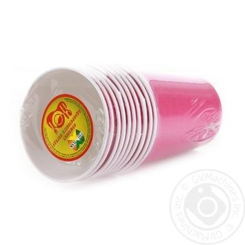 Стакан Унипак бумажный одноразовый малиновый 250мл 10шт - купить, цены на Ашан - фото 5
