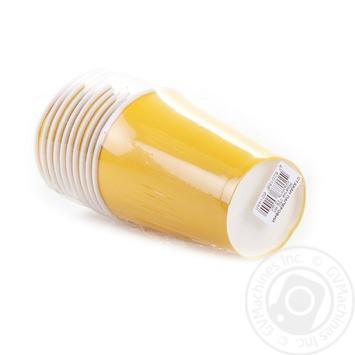 Стакан Унипак бумажный одноразовый желтый 250мл 10шт - купить, цены на Ашан - фото 5