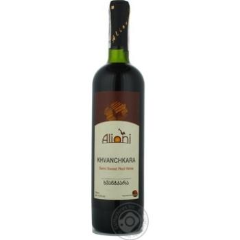 Wine Alioni Khvanchkara red semisweet 11% 750ml glass bottle Georgia