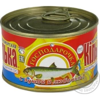 Килька Господарочка черноморская неразделанная в томатном соусе 240г - купить, цены на Фуршет - фото 1