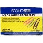 Скрепки EconoMix круглые цветные 28мм 100шт