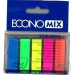 Закладки EconoMix с клейким слоем 5 цветов по 25шт 12X45мм