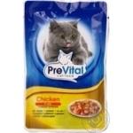 Корм PreVital мясные кусочки в желе с мясом курицы для взрослых котов 100г