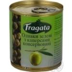 Оливки зелені з каперсами консервовані пастеризовані Fragata 200г