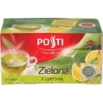 Чай зелений байховий дрібний ароматизований з цедрою лимону у пакетикахдля разового заварювання Posti 20*1,8г