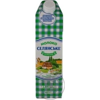 Молоко Селянское ультрапастеризованное 1.5% 950г